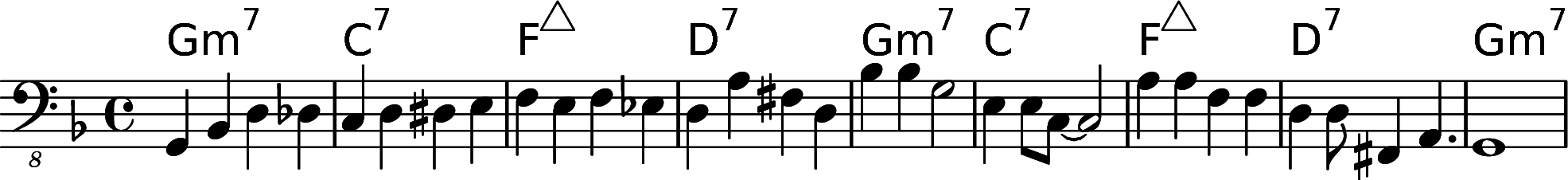 Walking bass line over 2-5-1-6 F major chord progression